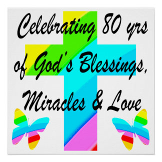 RELIGIOUS PERSONALIZED 80TH BIRTHDAY DESIGN POSTER