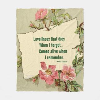 Remember Pink Roses Fleece Blanket Medium