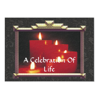 """Remembrance Candles & Vines 5"""" X 7"""" Invitation Card"""
