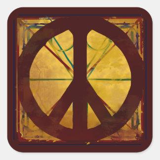 Renaissance Da Vinci Style Peace Sign Square Sticker