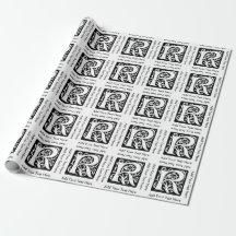 Renaissance Letter R Monogram Gift Wrap Paper