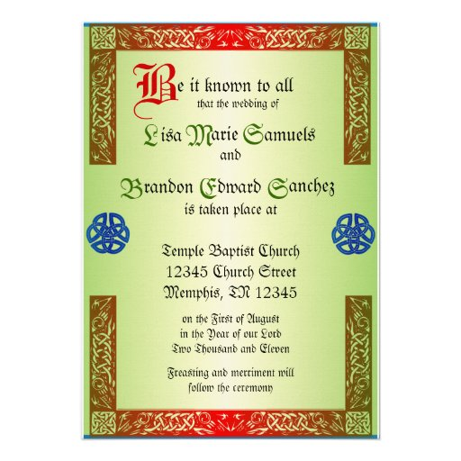 Renaissance Wedding Invitaiton Custom Invite