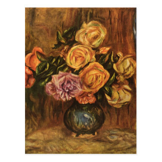 Renoir's Roses in Front of a Blue Curtain (1908) Postcard