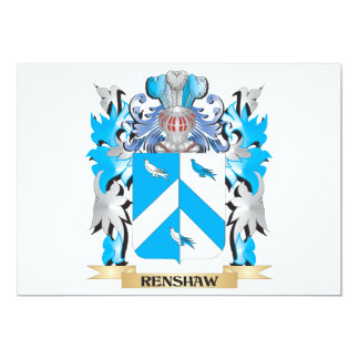 """Renshaw Coat of Arms - Family Crest 5"""" X 7"""" Invitation Card"""