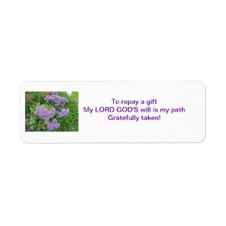 Repay a Gift Haiku Purple Flower Label Return Address Label