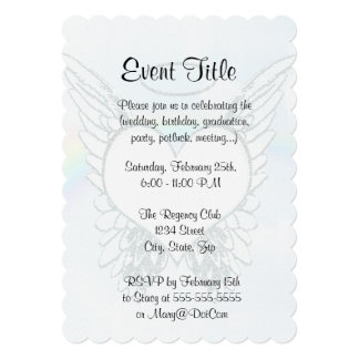 Replace Photo Angel Wings and Heart 13 Cm X 18 Cm Invitation Card