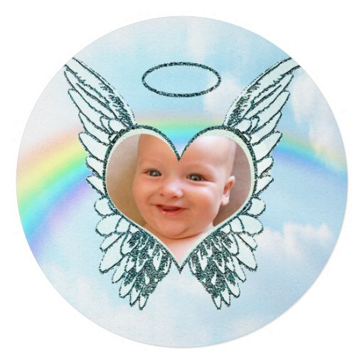 Replace Photo Angel Wings and Heart Custom Announcements