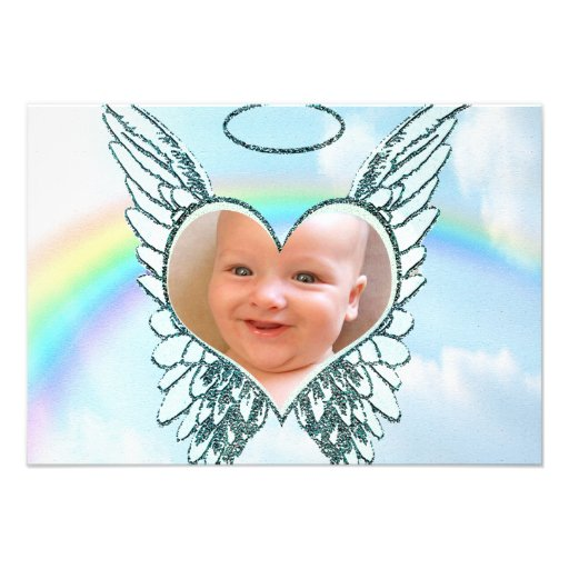 Replace Photo Angel Wings and Heart Invite