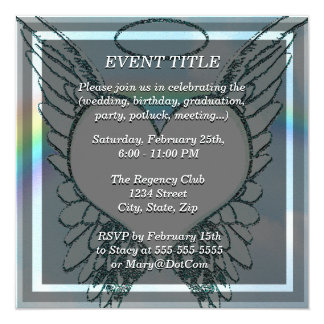 """Replace Photo Angel Wings and Heart 5.25"""" Square Invitation Card"""