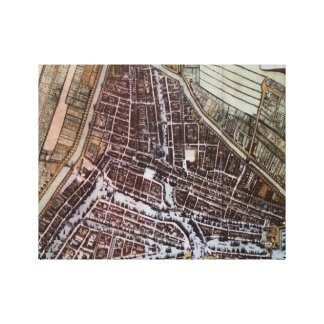Replica city map of Rotterdam from 1652 Canvas Print