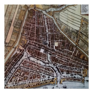 Replica city map of Rotterdam from 1652 Poster