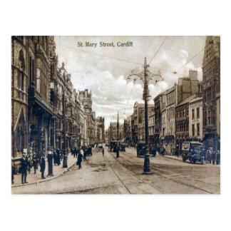 Replica Vintage Image, Cardiff, St Mary street Postcard