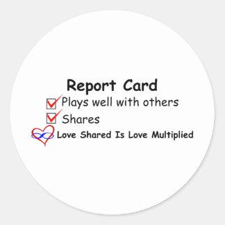 Report Card Classic Round Sticker