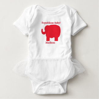 Republican Baby Red Elephant Name Personalized Baby Bodysuit