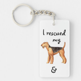 Rescue Airedale Double-Sided Rectangular Acrylic Key Ring