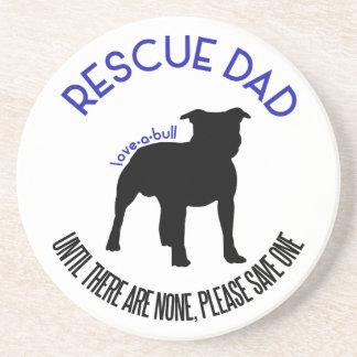"Rescue Dad ""Love A Bull"" Pit Bull Round Coaster"