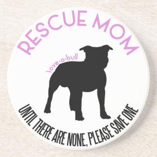 """Rescue Mom """"Love A Bull"""" Pit Bull Round Coaster"""