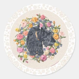 Rescued Scottie Bonnie on Floral Background Classic Round Sticker