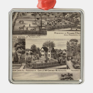 Residences and farms in Edgar, Hardin, Massac Silver-Colored Square Decoration