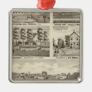 Residences, farms and factory, Vandalia, Sandoval Christmas Ornament