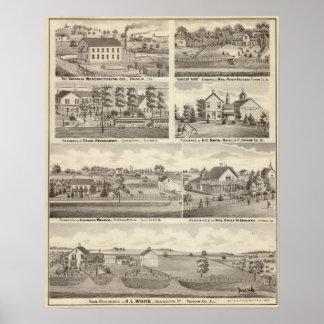 Residences, farms and factory, Vandalia, Sandoval Poster