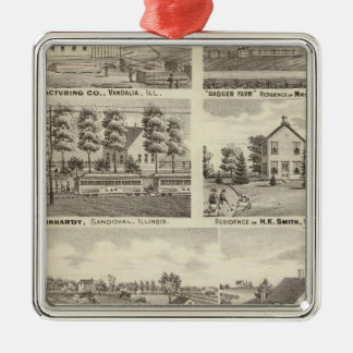 Residences, farms and factory, Vandalia, Sandoval Silver-Colored Square Decoration