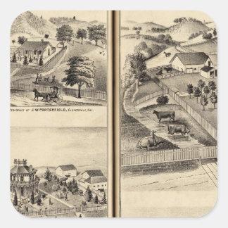 Residences of DG Heald, JM Bowles Square Sticker