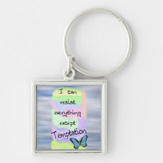Resisting Temptations Silver-Colored Square Key Ring