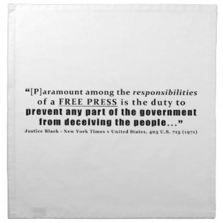 Responsibilities of a Free Press Quote Napkin