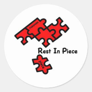 Rest In Piece Classic Round Sticker