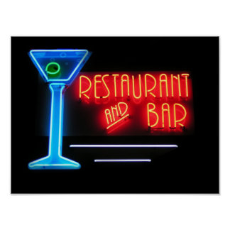 Restaurant and Bar Neon Sign Poster