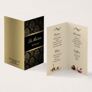 restaurant menu folded business card