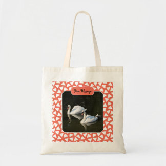 Resting Swans with Salmon Triangle Pattern Tote Bag