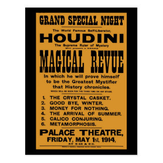 Restored 1914 Harry Houdini yellow billboard Postcard