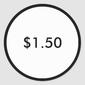 Retail Price Tag Classy Black and White Round Sticker