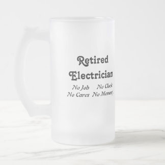 Retired Electrician Frosted Glass Beer Mug