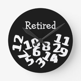 Retired Funny Fallen Numbers Round Clock