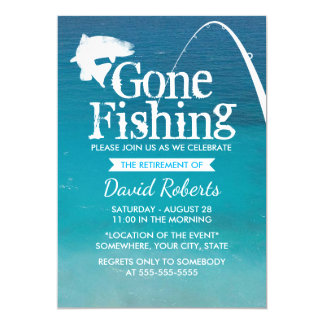 Retired Gone Fishing Retirement Party 13 Cm X 18 Cm Invitation Card