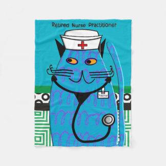 Retired Nurse Practitioner Cat Fleece Blanket #2