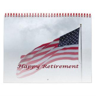 Retirement 2016 Calendar USA Flag Red