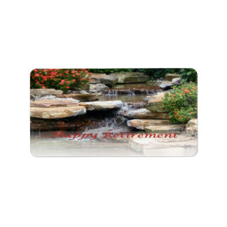 Retirement Garden Waterfall Cascade Label Sticker Address Label