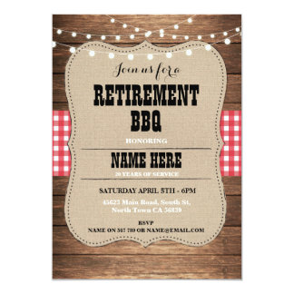 Retirement Invitation Retired Party BBQ Red Invite