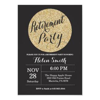 Retirement Party Black and Gold Glitter Invitation