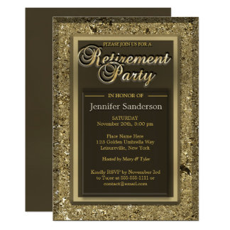 Retirement Party | Elegant Golden Office Directory Card