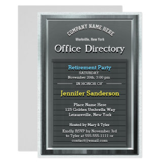 Retirement Party | Fun Silver Office Directory Card
