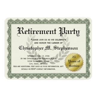 Retirement Party Funny Recognition Certificate 13 Cm X 18 Cm Invitation Card