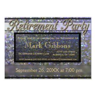 Retirement Party Gold and Silver Glitter Look Card