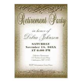 Retirement Party | Gold Shimmer 13 Cm X 18 Cm Invitation Card