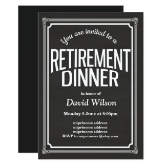 Retirement Party invitation, chalkboard background Card