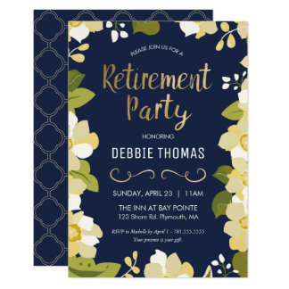 Retirement Party Invitation, Customize w/ Gold Card